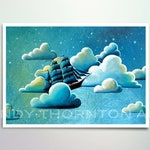 5x7 Fine Art Pearlescent Print - Astronautical Navigation - a night flying ship - Cindy Thornton Art