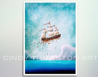 5x7 Fine Art Pearlescent Print - Fantastic Voyage - a flying ship courtesy of the butterflies - Cindy Thornton Art