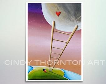 5x7 Fine Art Pearlescent Print - Destination Moon - house loves the full moon - Cindy Thornton Art