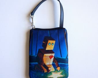 Another Wish Is Found - by Cindy Thornton Art - Robot Smart Bag Mini Wristlet Pouch