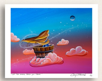 Let The Stars Take You There - girl flying on a cloud - Limited Edition Signed Semi Gloss 8x10 Print (2/10)