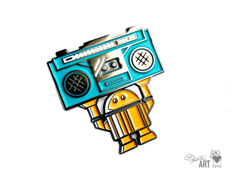 Limited Edition Robot Enamel Metal Pin  Say Anything Boombox image 0