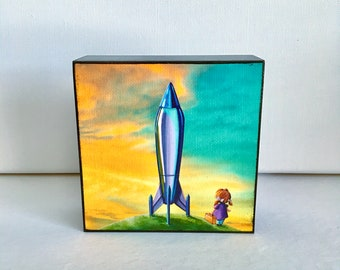 4x4 - The Moon Mission- canvas print mounted on wood block - Cindy Thornton Art
