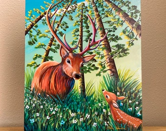 """Book Illustration - BAMBI #5 """"The Old One"""" - Cindy Thornton Original Painting on wood + Signed Hardcover Book"""