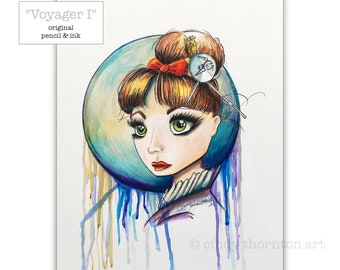 Voyager I - Cindy Thornton Original Colored Pencil & Ink Drawing on Paper