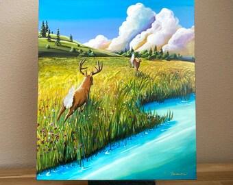 "Book Illustration - BAMBI #10 ""Bambi & Faline"" - Cindy Thornton Original Painting on wood + Signed Hardcover Book"