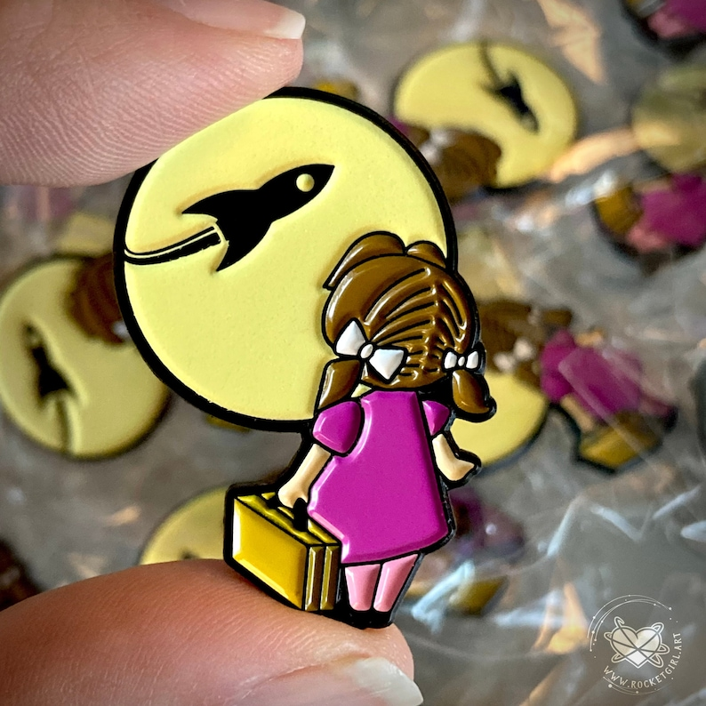 Limited Edition Rocket Girl Enamel Metal Pin  Glow In The image 1