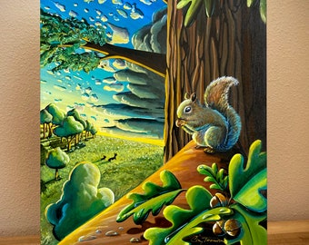 """Book Illustration - BAMBI #4 """"After The Storm"""" - Cindy Thornton Original Painting on wood + Signed Hardcover Book"""