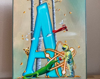 A Is For - Cindy Thornton Original Alphabet Letter Painting on Wood