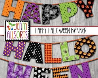 Happy Halloween Printable Banner -  Digital Halloween Sign, Halloween Party Decor, DIY Halloween Decoration, bulletin board letters