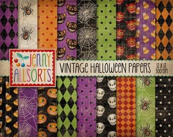 Vintage Halloween Digital Design Paper - retro Halloween patterns, spooky Halloween scrapbook paper, aged worn grunge texture skulls spiders