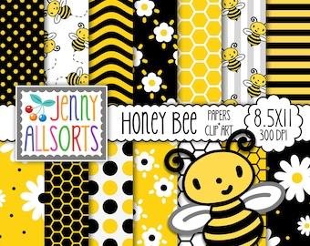 Honey Bee Digital Scrapbook Paper & Bumble Bee Clip Art, 8.5 x 11 digital Paper Set, honeycomb printable paper, cute bee pattern background