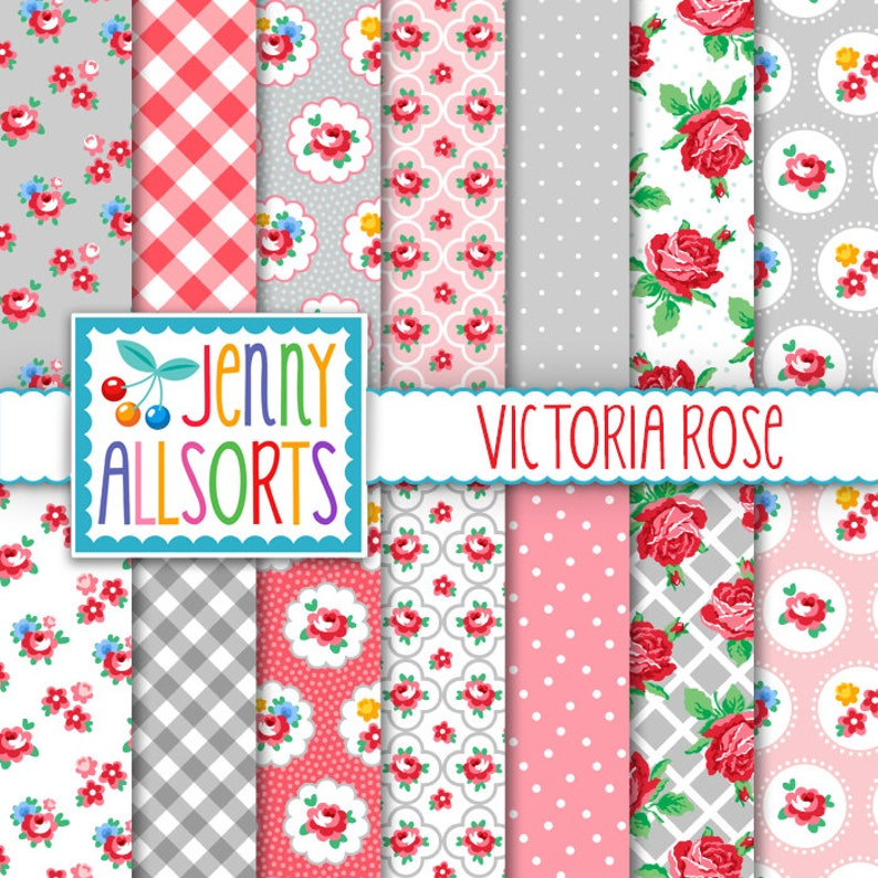 Shabby Roses Digital Paper  Victoria Rose Pink Roses & Gray image 0