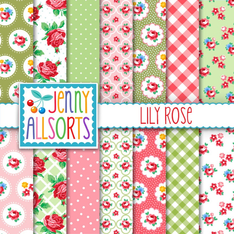 Shabby Chic Digital Paper Lily Rose  Pink and Green  for image 0