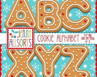 Cookie Alphabet digital clipart - digital gingerbread cookie letters, Christmas scrapbook clip art, digital design, bulletin board letters