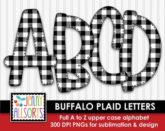 Buffalo Plaid Alphabet for sublimation & design, Buffalo Check digital clipart, black, white woodsy cabin scrapbook clip art, doodle letters