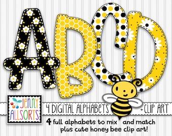 Honey Bee 4-Alphabet bundle for sublimation & design, cute bee theme alpha, digital bee clip art, bee scrapbook doodle letters, bee clipart