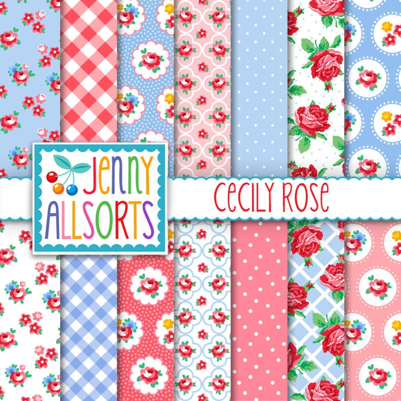 Shabby Chic Digital Paper Cecily Rose  Pink and Baby Blue  image 0