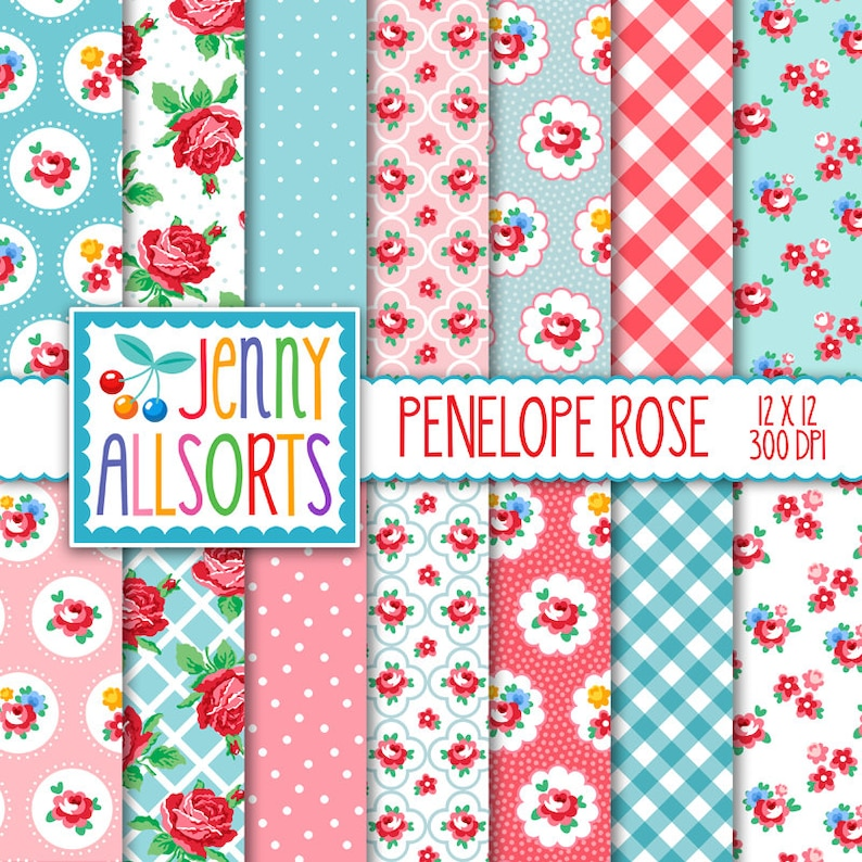 Shabby Chic Digital Paper Penelope Rose  Pink and Aqua   for image 0