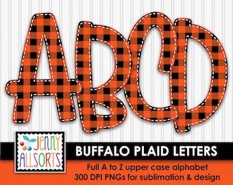 Buffalo Plaid Alphabet for sublimation & design, Buffalo Check digital clipart, orange black woodsy cabin scrapbook clip art, doodle letters