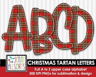 Christmas Tartan Alphabet for sublimation & design, Tartan Check digital clipart, red and green Christmas scrapbook clip art, doodle letters