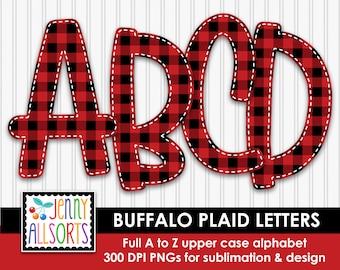 Buffalo Plaid Alphabet for sublimation & design, Buffalo Check digital clipart, red black woodsy cabin scrapbook clip art, doodle letters