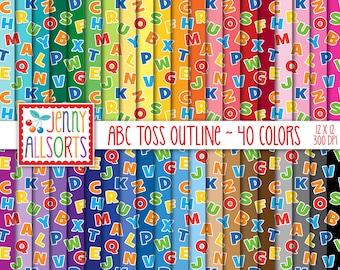 ABC Outline Digital Paper Pack - 40 Color Bundle, printable letter toss scrapbook paper, seamless scattered alphabet pattern, digital design