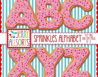 Donut Alphabet digital clipart - Sprinkles & pink icing cookie letters, baking scrapbook clip art, digital design, bulletin board letters