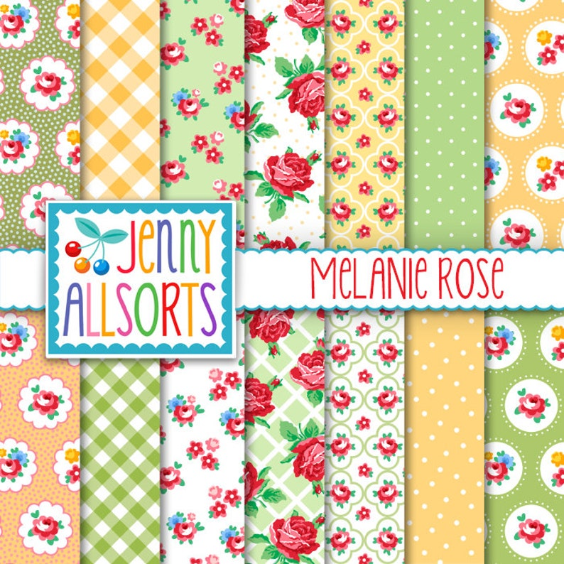 Shabby Chic Digital Paper Melanie Rose  Pink Yellow and image 0