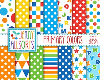 Primary Colors Digital Paper Pack - 14 Printable graphic designs, red orange yellow blue green, letters stripes dots triangles bright colors