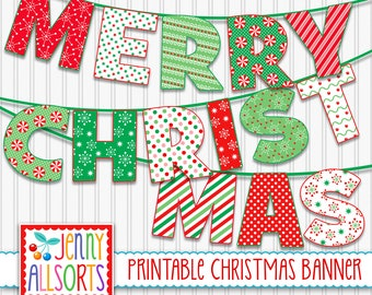 Merry Christmas Printable Banner -  Digital Christmas Sign, Holiday Patterns Party decor, DIY Christmas Decoration, Bulletin Board Letters