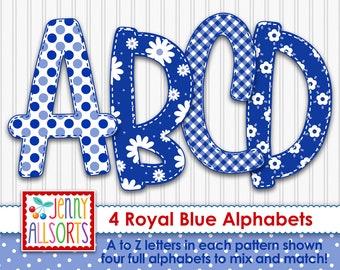 Royal Blue 4-Alphabet bundle for sublimation & design, cute digital alpha, gingham flowers dots, scrapbook doodle letters, clipart alphabet