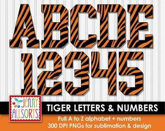 Tiger Stripe Letter Set for sublimation & design, Tiger alphabet digital clipart, scrapbook clip art, varsity school spirit letters +numbers