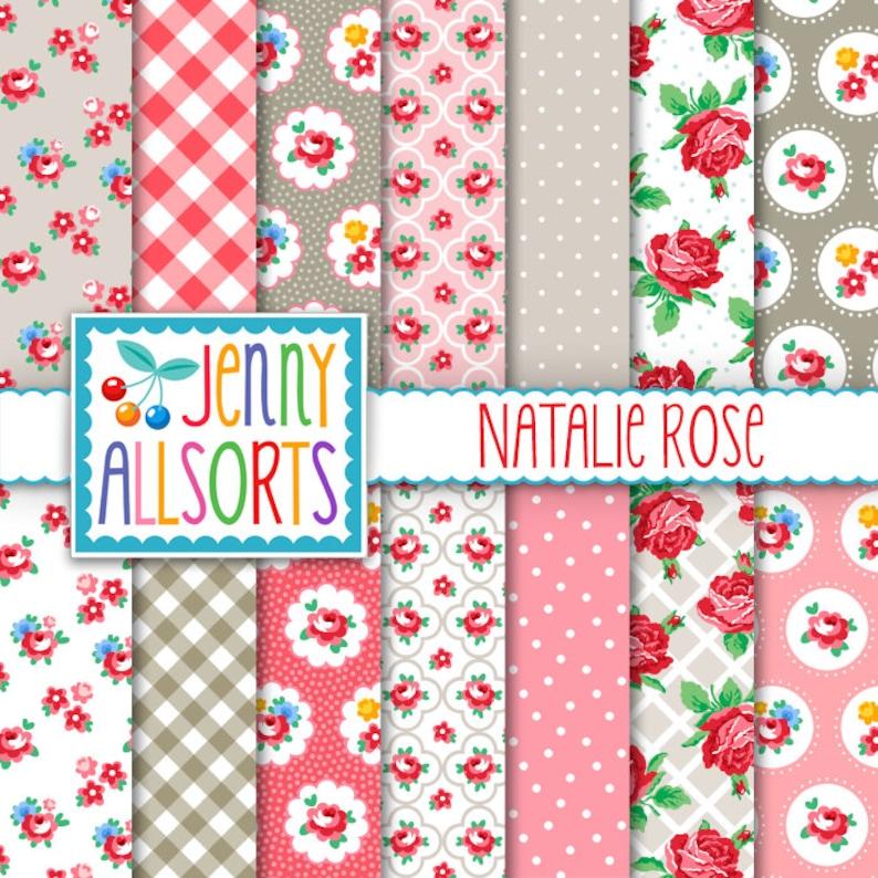 Shabby Chic Digital Paper Natalie Rose  Pink & Gray floral image 0