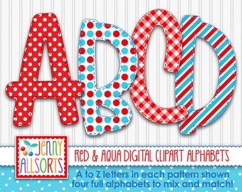 Red Aqua 4-Alphabet bundle for sublimation & design, fun digital geometric alpha, printable clipart doodle letters, polkadot gingham stripes