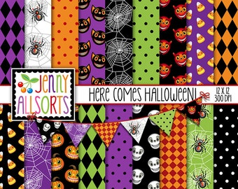 Digital Halloween Paper + Halloween bunting clipart - printable retro Halloween patterns - retro Halloween paper - vintage Halloween paper