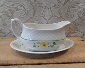 Gravy boat Enoch wedgwood Tunstall Jacqueline gravy boat yellow flower and butterfly