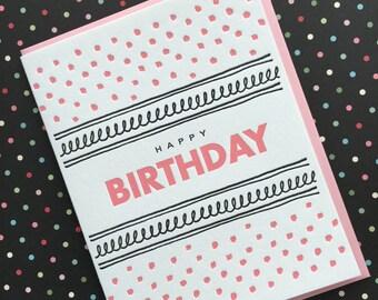 Pink Dot Birthday - letterpress card