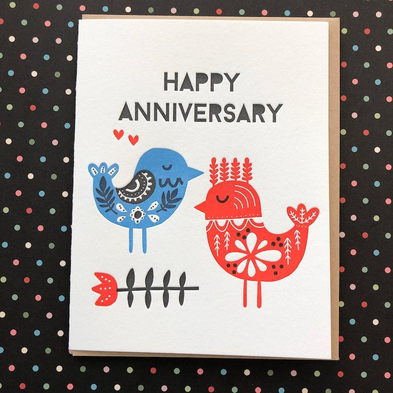 anniversary birds letterpress card  etsy