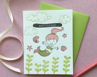 Happy Birthday Mermaid - letterpress