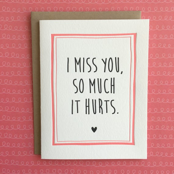 I Miss You So Much It Hurts Letterpress Card Etsy
