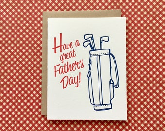 Letterpress Card - Happy Father's Day Golf