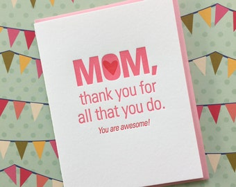 Letterpress Card - Mom, Thank You