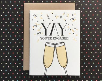 Yay! You're Engaged Letterpress Card