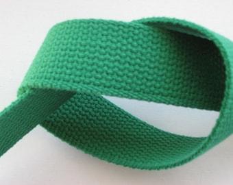 Kelly Green Heavyweight Cotton Webbing For Handbags Key Fobs Totes Etc