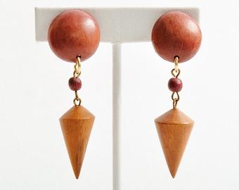 Vintage Wood Cone Earrings
