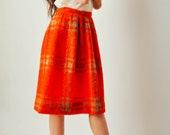 Vintage Red Plaid Mohair Skirt