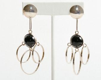 Vintage Long Silver & Onyx Taxco Earrings