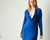 Vintage Yves Blue Plunge Neck Dress