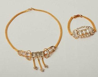 Vintage Rhinestone Necklace & Bracelet Set
